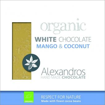 Chocolate White Mango Coconut 90 gr. Tafel