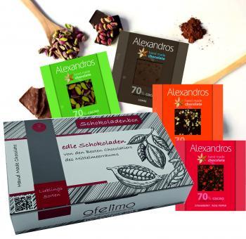 Schokoladenbox Alexandros köstliche 70%ige dunkle