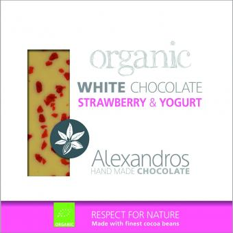 Organics Chocolate White Strawberry / Yoghurt 90 gr. Tafel