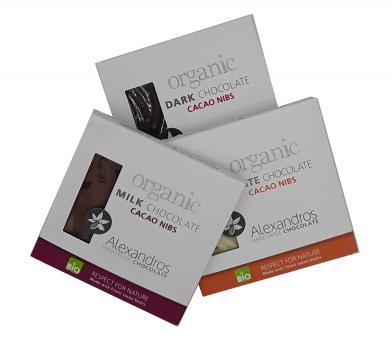 3er Schokoladenbox Alexandros Organic mit Cacao Nibs