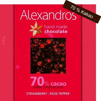 Chocolate Dark Strawberry / Rose Pepper 90 gr. Tafel