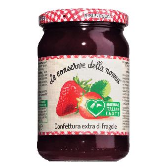 Erdbeerkonfitüre, Confettura extra di fragole 330 g Glas
