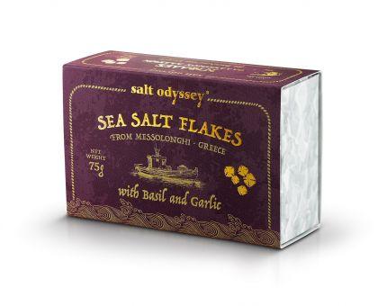 Sea SALT FLAKES Ein luxuriöses handwerkliches Salz mit einem angenehm reichen Basilikumaroma, 75 g. Schachtel