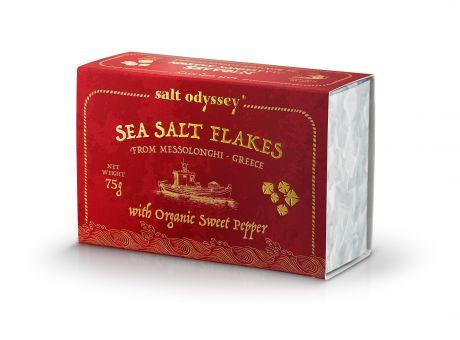 Sea SALT FLAKES mit dem Zusatz von Paprika aus kontrolliert biologischem Anbau 75 g. Schachtel